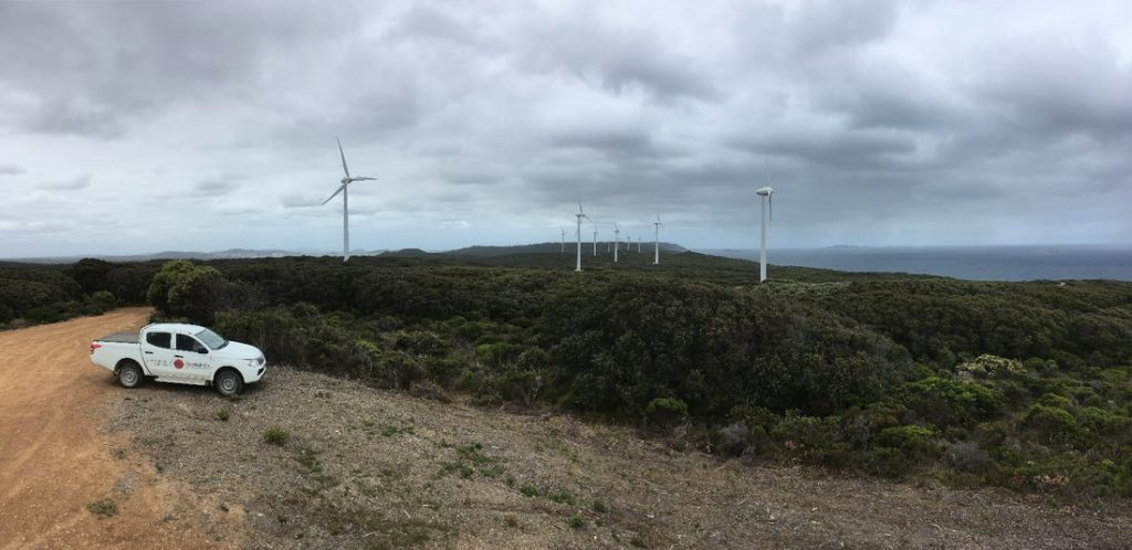 Geomotion ute parked close to Albany Wind Farms