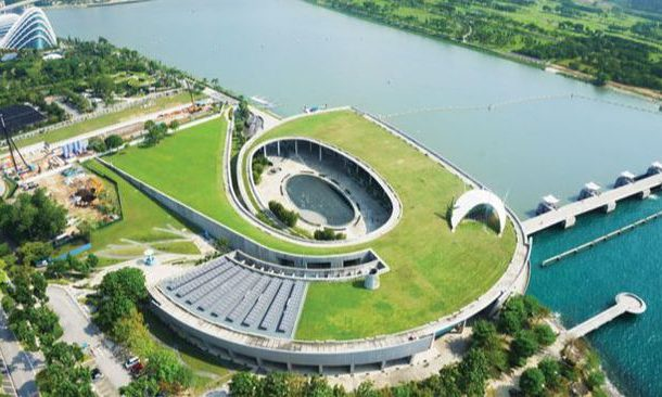 Aerial view of marina barrage in Singapore