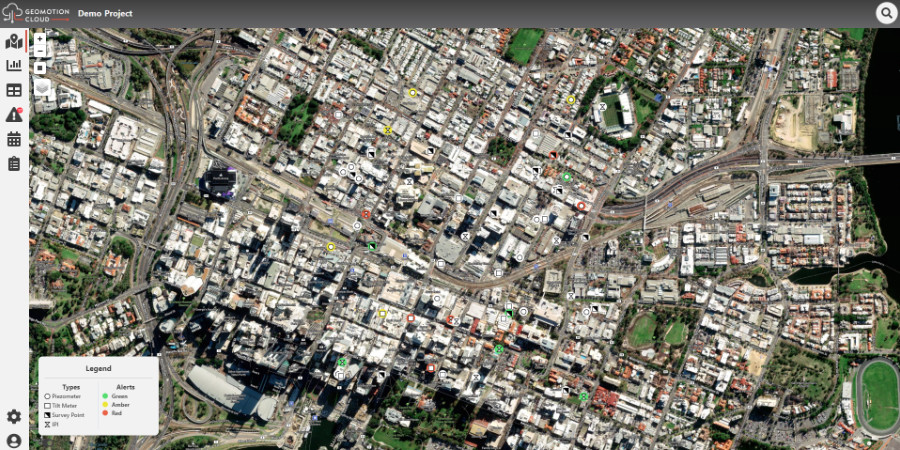 Satellite map view on demo project of Geomotion Cloud Software