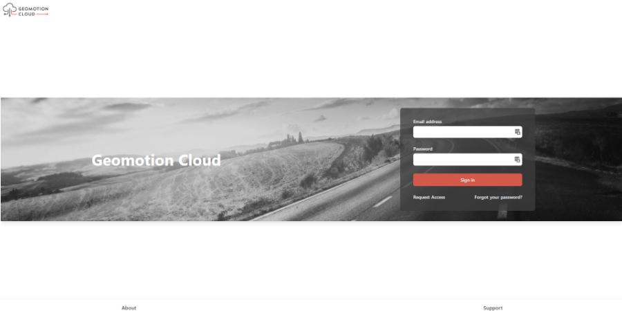 Login screen of Geomotion Cloud monitoring software