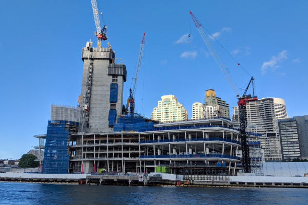 Construction site of the Crown Tower in Sydney, Australia